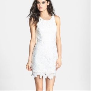 ASTR White Lace Sleeveless Mini Sheath Dress